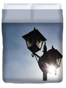 Sunlit Jewels - Stained Glass Lamps And Sunburst Right Duvet Cover