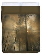 Sunlit Smoke Whispers The Firefighters Duvet Cover