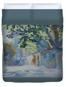Sunlit Wall Under A Tree Duvet Cover