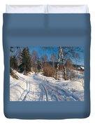 Sunlit Winter Landscape Duvet Cover