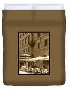Sunny Italian Cafe - Sepia Duvet Cover by Carol Groenen