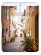 Sunny Street In Villefranche-sur-mer Duvet Cover