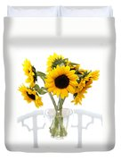 Sunny Vase Of Sunflowers Duvet Cover