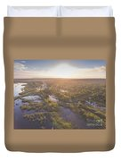 Sunraise Morning Summer Time Lake And Green Forest, In Poland  Duvet Cover
