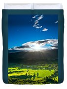 Sunrays Flood Farmland During Sunset Duvet Cover