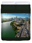 Sunrays Paint The Austin Skyline As Rush Hour Traffic Picks Up On I-35 Duvet Cover