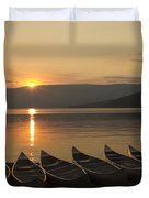 Sunrise And Canoes On Adams Lake Duvet Cover