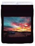 Sunrise And Horse Barn Duvet Cover
