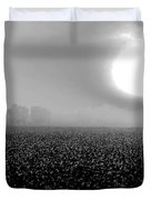 Sunrise And The Cotton Field Bw Duvet Cover by Michael Thomas