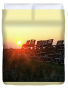Sunrise And The Lifeguard Chairs  Duvet Cover