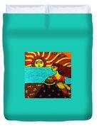 Sunrise At Beach Madhubani Painting Duvet Cover