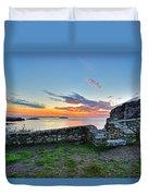 Sunrise At Castle Rock Marblehead Ma Rocky Coast Duvet Cover