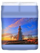 Sunrise At Marblehead Lighthouse Panorama Duvet Cover