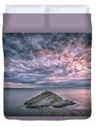 Sunrise At Mumbles Lighthouse Duvet Cover
