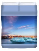 Sunrise At The Iceberg Lagoon Duvet Cover