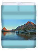 Sunrise At The Two Medicine Dock Duvet Cover