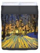 Sunrise Forest Modern Impressionist Landscape Painting  Duvet Cover