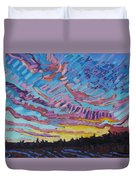 Sunrise Freezing Rain Deformation Zone Duvet Cover by Phil Chadwick