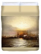 Sunrise From Chapman Dock And Old Brooklyn Navy Yard, East River, New York Duvet Cover