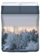 Sunrise Glos Behind Trees Frozen Trees Duvet Cover