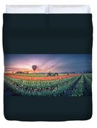 Sunrise, Hot Air Balloon And Moon Over The Tulip Field Duvet Cover