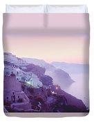Sunrise In Oia Duvet Cover