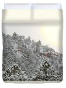 Sunrise In Snowstorm In The Pike National Forest Duvet Cover