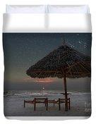 Sunrise In Tropical Beach Of Zanzibar With Starry Sky Duvet Cover