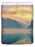 Sunrise Lovatnet, Norway Duvet Cover