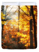 Sunrise Mist Through The Trees Duvet Cover