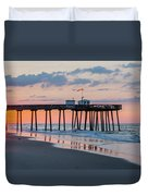 Sunrise Ocean City Fishing Pier Duvet Cover
