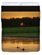 Sunrise On A Gettysburg Duck Pond Duvet Cover