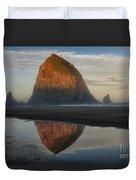 Sunrise On Haystack Rock - Oregon Duvet Cover
