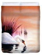 Sunrise On Swan Lake Duvet Cover
