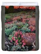 Sunrise On The Minarets Eastern Sierras California Duvet Cover
