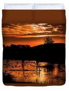Sunrise Over A Pond Duvet Cover