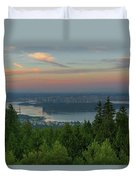 Sunrise Over City Of Vancouver Bc Canada Duvet Cover