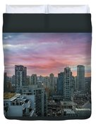Sunrise Over Downtown Vancouver Bc Duvet Cover