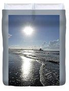 Sunrise Over Folly Beach Pier Duvet Cover
