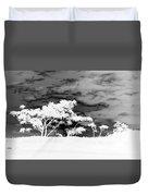 Sunrise Over Fort Salonga B W In Negative Duvet Cover