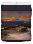 Sunrise Over Mount Hood And Sandy River Valley Duvet Cover