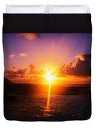 Sunrise Over Ocean, Sandy Beach Park Duvet Cover