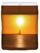 Sunrise Over Whaleback Light Portsmouth Nh New Hampshire Duvet Cover