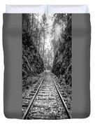 Sunrise Rails Black And White Vertical Panorama Duvet Cover