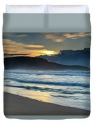 Sunrise Seascape With Headland And Clouds Duvet Cover