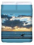 Sunrise Surfer Running Delray Beach Florida Duvet Cover