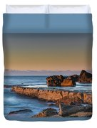 Sunrise, The Sea And Tessellated Rock Platform Duvet Cover