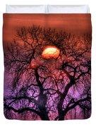 Sunrise Through The Foggy Tree Duvet Cover