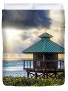 Sunrise Tower At The Beach Duvet Cover