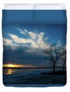 Sunset Along The Mississippi River Duvet Cover
